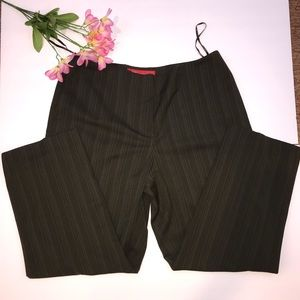 Anne Klein cropped olive stripe trousers